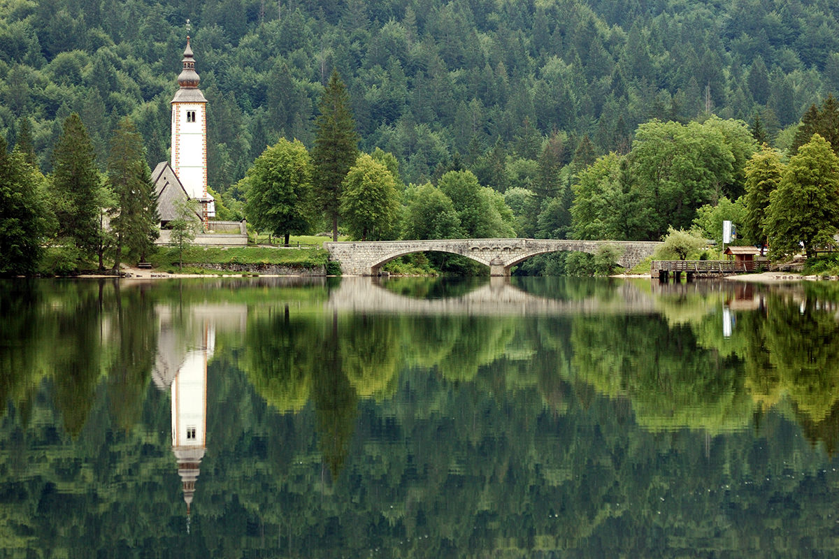 IndoEuropean Travels Europe 72 SLOVENIA Lake Bohinj With A Church