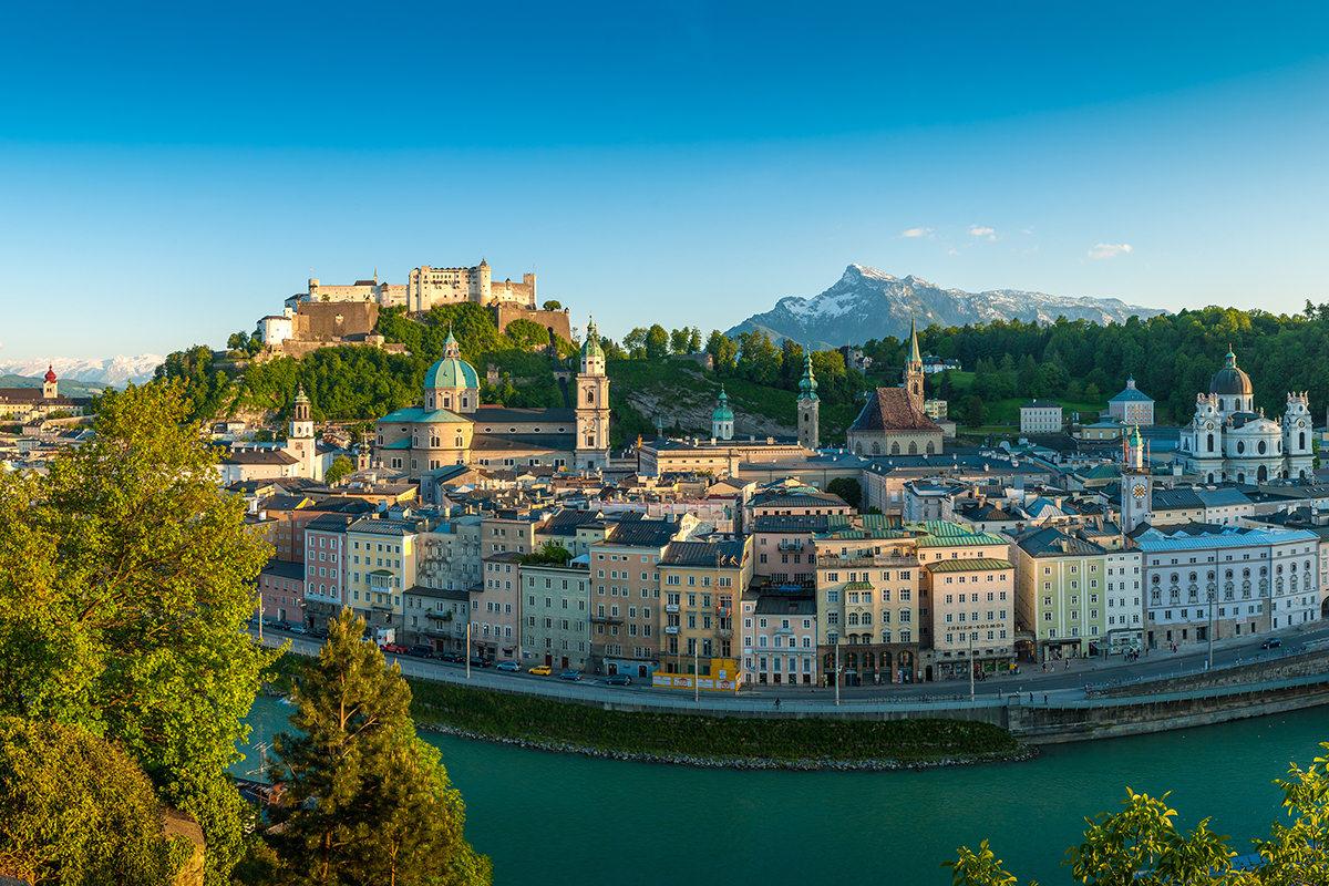Blick Vom Kapuzinerberg Auf Die Altstadt Mit Festung Hohensalzbu